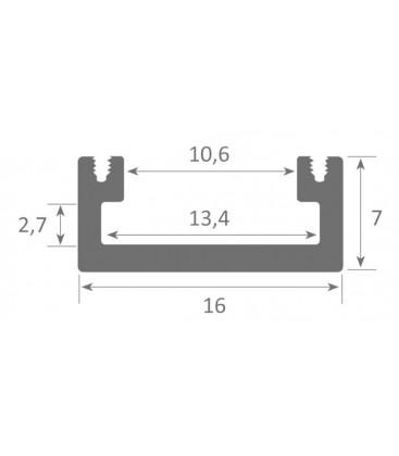 Aluminum profile for place on surfaces model MINI MINO