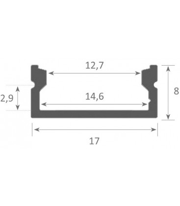Aluminum profile for place on surfaces model MIÑO