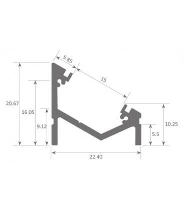 Angular LED strip profile SOPHIA XL ASYMMETRIC by Luz Negra
