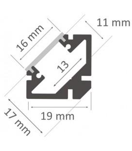 Perfil de aluminio a 45º para esquinas modelo PERBES