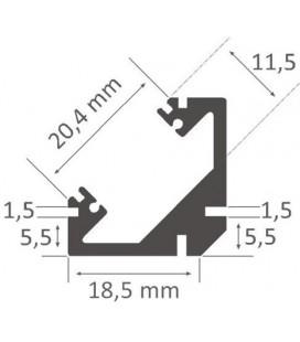 Perfil de aluminio a 45º para esquinas modelo PERBES XL