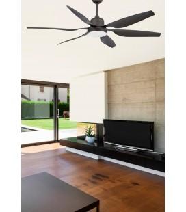 Ventilateur avec lumière Tilos diamètre 168cm foncé 6 Palas 2 X E27 de Faro