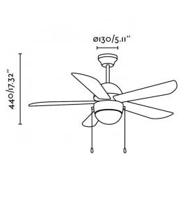 Ventilateur avec lumière phare de 40W X E27 Veneto diamètre 107cm 5 lame 1