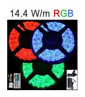 Strip RGB LED 14,4 Watts/m. Roblan 12V IP67