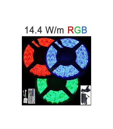 Tira LED 12V RGB 14.4 W/m IP67 de Roblan