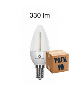 Pack de 10 FLAMA TRANSPARENT 4W E14/E27 220V 360º LED de Beneito Faure
