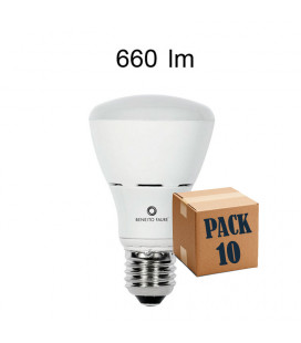 Pack de 10 R-63 8W E27 220V 120º R-LINE LED de Beneito Faure
