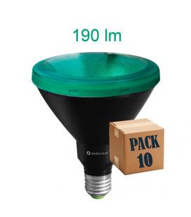 Pack 10 PAR 38 VERDE 15W E27 220V 30º LED de Beneito Faure