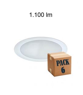 Pack de 6 ION 15W ALUMINIUM BLANCO 220V 120º LED de Beneito Faure