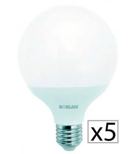 Pack 5 LED GLOBO G120 18W de Roblan